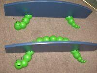 Two Caterpillar Novelty Bracket and Blue laminated shelves