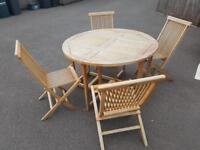 Garden table and chair set with parasol