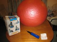 pink gym ball. In a box with pump and instructions
