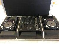 Pair of Denon DN-S1200 USB CDJs & Denon DN-X1100 Mixer in Flight Case - Full Working order
