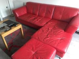 Leather corner sofa snd footstool
