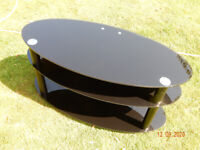 Oval Black Glass TV and media stand VGC