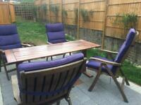 Garden set, chairs cushions table solid oak