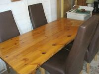 SOLID PINE REFECTORY TABLE & 4 HIGH BACK LEATHER CHAIRS. VIEWING/DELIVERY AVAILABLE