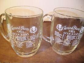 SCOTLAND RUGBY 1984 GRAND SLAM COMMEMORATIVE GLASS PINT TANKARD