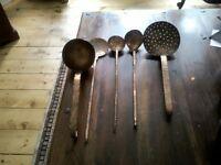 5 hand made copper kitchen utensils