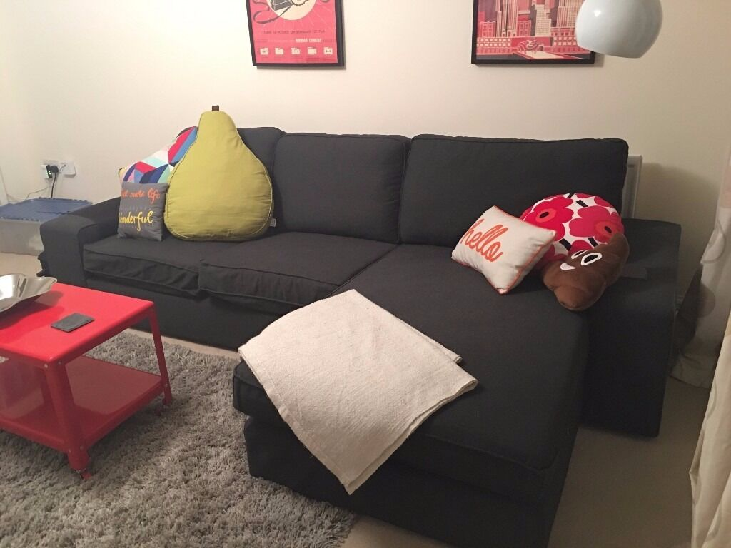 ikea kivik three seat sofa and chaise longue corner sofa