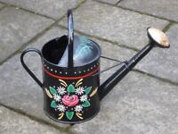 HAND PAINTED NARROW BOAT STYLE WATERING CAN/PLANTER FOR GARDEN. PERFECT FOR TRAILING FLOWERS OR IVY!