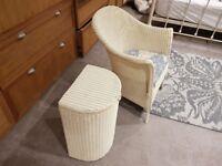 Lloyd loom chair and laundry basket