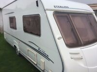 STERLING MOONSTONE 4 BIRTH LUXURY CARAVAN END BATHROOM/TOILET,AWNING,LOVELY CARAVAN,ALL WORKING
