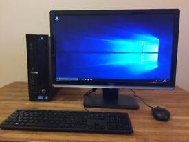 "**FULL SET Dell intel i3 3.30Ghz, 8GB, Windows 10 + Office + WiFi + 24"" LED Monitor Desktop Computer"
