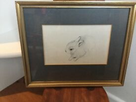 Gold framed sketch of baby rabbit and other animal pictures good condition