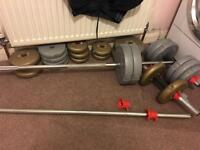 Free weights York fitness dumbells barbells set