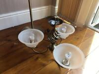 Matching standard lamp and ceiling light fitting