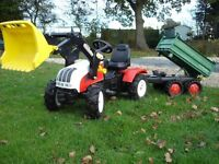 Rolly Toys Steyr CVT 170 Ride on pedal Tractor Pneumatic Tyres & Mega Trailer 3 way tipper.
