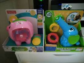 Fisher Price Piggy Bank & Leap Frog Stack & Tumble Elephant