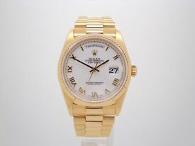 IMMACULATE ROLEX DAY-DATE 18238 GOLD WATCH WITH BOX & PAPERS 18 MONTHS ROLEX WARRANTY