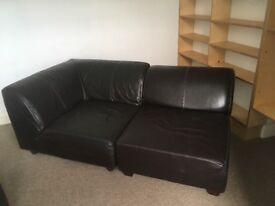 FREE! Sofa, leather, brown, modular, corner and single unit