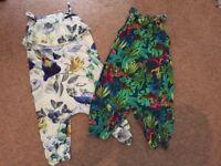 Next girls playsuits jumpsuits x 2 size 9-12 months