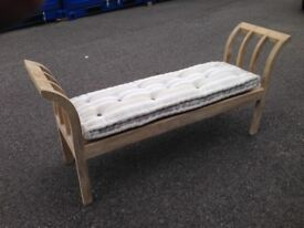 French 2 seater bench, stool with cushion