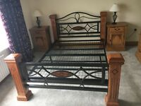 Beautiful solid wood/wrought iron kingsize bed frame