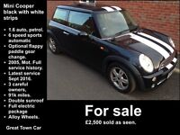 Mini Cooper Black with White Stripes; 1.6 Auto, 12 month MOT, Full electric package, REDUCED PRICE