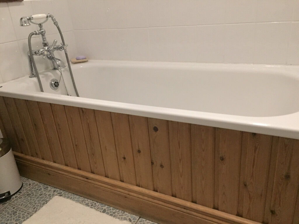 Bath 150cms x 70cms (Shires) Marble with telephone style mixer taps and shower head..