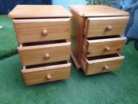 pair of solid pine bedside/drawers