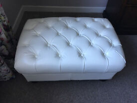 White Leather Ottomans x 2 Available