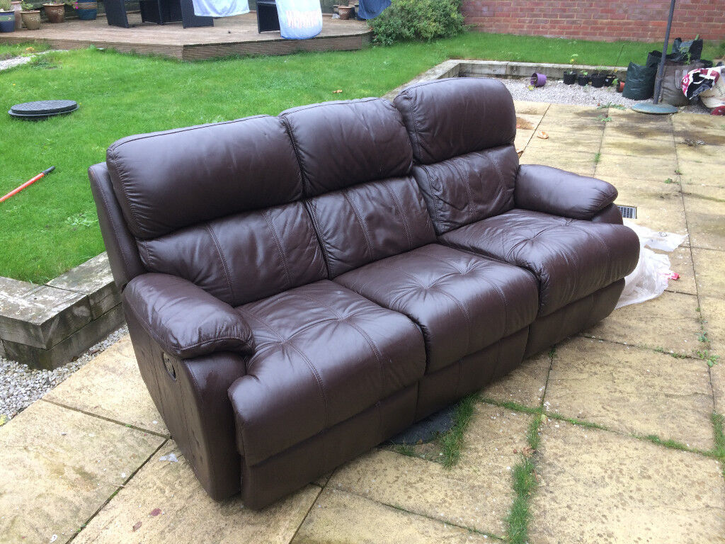 Chocolate Leather reclining 3 seater sofa