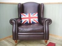 Stunning Brown Leather Queen Anne Chair.