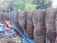 Used oak whiskey barrels for the garden patio wedding