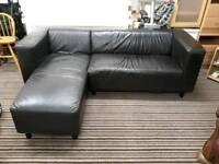 Black leather corner sofa. Delivery possible