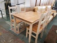 Pine painted dining table and four chairs