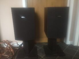 Superb pair vintage Celestion 20i 120w 8ohm speakers (rosewood ?) with Atacama stands & 10m cable