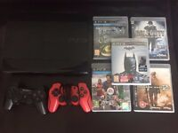 PS3 Super Slim 500gb + 2 Controllers + 5 games