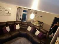 Brown leather corner recliner sofa