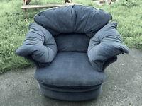 Single Blue Dralon Armchair.
