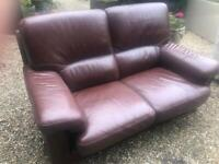 As new two seater Italian leather sofa