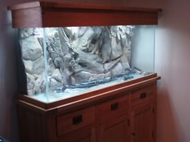 solid oak 5ft fish tank and all auxiliary equipment for sale, used only for approx 6months.