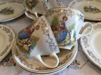 VINTAGE CRINOLINE LADY 4 PERSON TEA SET