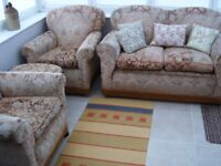 Vintage dusky-pink drop-arm two-seater sofa/settee - two armchairs - one stool - original