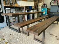 Large industrial style dining table 10-12 seaters for 3 matching benches