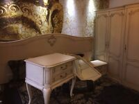 AMAZING FRENCH SHABBY CHIC FULL BEDROOM SET,MASSIVE ARMOIRE, BEDFRAME,CHEST OF DRAWERS,BEDSIDE CABS