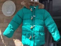 M & S green duffle coat Size 4-5 Great condition