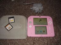 NINTENDO 2DS WITH GAMES AND CASE AND CHARGER