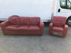 Italsofa red leather sofa & reclining armchair *free furniture delivery*