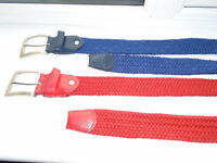 2 ELASTICATED BELTS, BRAND NEW, 1 RED and 1 BLUE with SILVER BUCKLE, PLUS OTHER BELTS and CLOTHING
