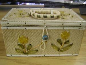 Vintage Yellow and Green Sewing Basket