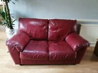 Beautiful Double 2/3 seater RED Leather Sofa - £75 Good condition